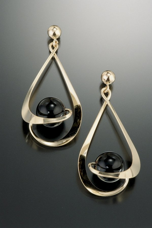 Solar Reverse Earrings: Black Onyx & 14k GF